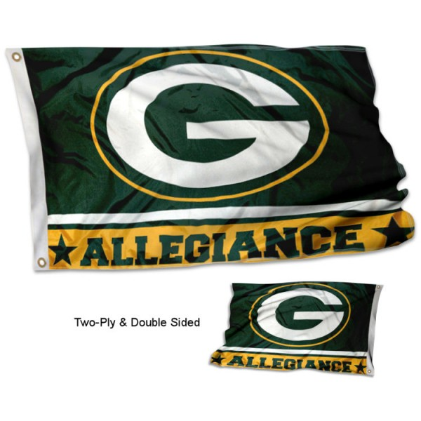 Green Bay Packers Allegiance Flag measures 3'x5', is made of 2-ply double sided polyester with liner, has quadruple stitched sewing, two metal grommets, and has two sided team logos. Our Green Bay Packers Allegiance Flag is officially licensed by the selected team and the NFL and is available with overnight express shipping.