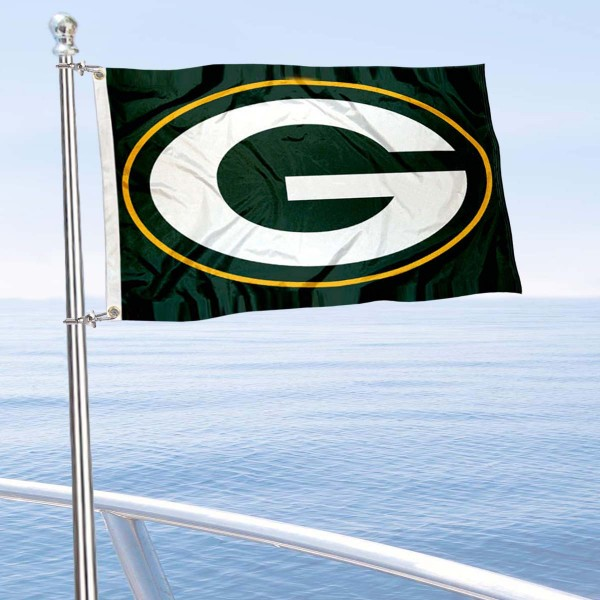 """Our Green Bay Packers Boat and Nautical Flag is 12""""x18"""", made of three-ply poly, has a solid header with two metal grommets, and is double sided. This Boat and Nautical Flag for Green Bay Packers is Officially Licensed by the NFL and can also be used as a motorcycle flag, boat flag, golf cart flag, or recreational flag."""