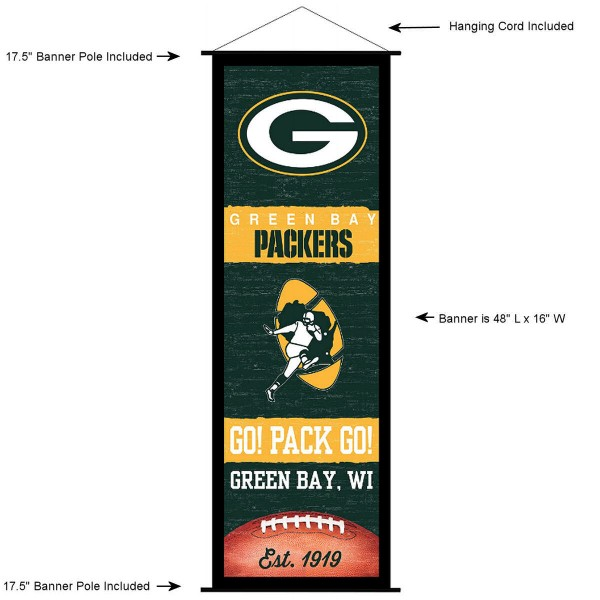 "This ""ready to hang"" Green Bay Packers Decor and Banner is made of polyester material, measures a large 17.5"" x 48"", offers screen printed athletic logos, and includes both top and bottom 3/4"" diameter plastic banner poles and hanging cord. Our Green Bay Packers D�cor and Banner is Officially Licensed by the selected team and NFL."