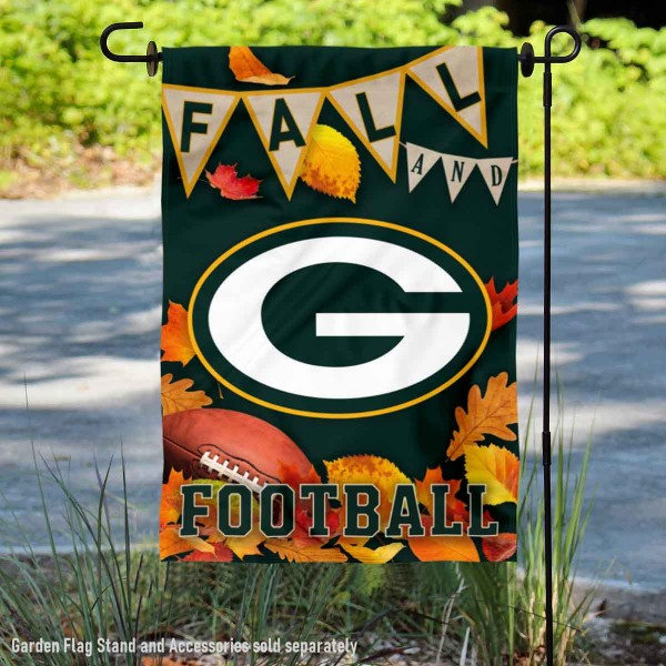 Green Bay Packers Fall Football Leaves Decorative Double Sided Garden Flag is 12.5x18 inches in size, is made of 2-ply polyester, and has two sided screen printed logos and lettering. Available with Express Next Day Ship, our Green Bay Packers Fall Football Leaves Decorative Double Sided Garden Flag is NFL Officially Licensed and is double sided.
