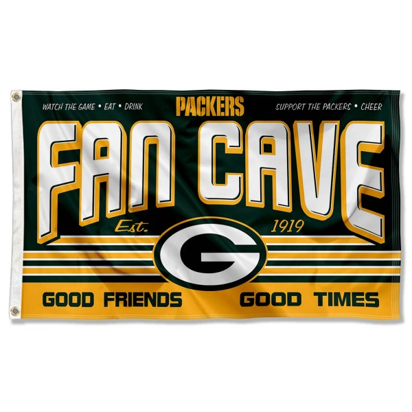 Our Green Bay Packers Fan Cave Flag Large Banner is double sided, made of poly, 3'x5', has two metal grommets, indoor or outdoor, and four-stitched fly ends. These Green Bay Packers Fan Cave Flag Large Banners are Officially Approved by the Green Bay Packers.