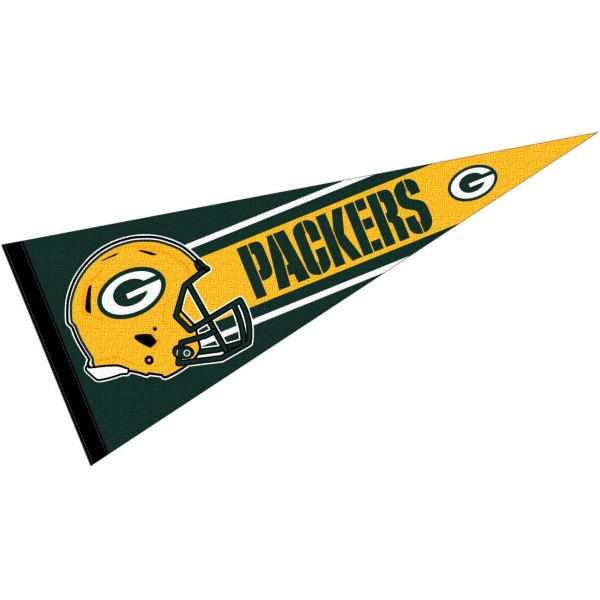 This Green Bay Packers Football Pennant measures 12x30 inches, is constructed of felt, and is single sided screen printed with the Green Bay Packers logo and helmets. This Green Bay Packers Football Pennant is a NFL Officially Licensed product.