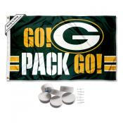 Green Bay Packers Go Pack Go Banner Flag with Tack Wall Pads