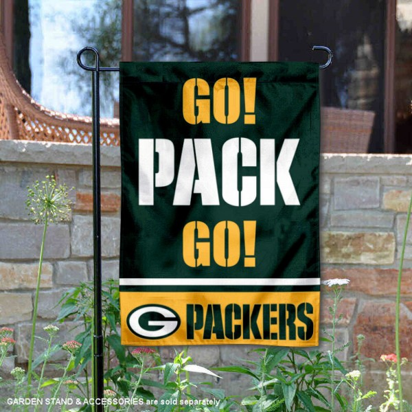 Green Bay Packers Go Pack Go Garden Banner Flag is 12.5x18 inches in size, is made of 2-ply polyester, and has two sided screen printed logos and lettering. Available with Express Next Day Ship, our Green Bay Packers Go Pack Go Garden Banner Flag is NFL Officially Licensed and is double sided.