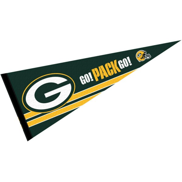 This Green Bay Packers Go Pack Go Pennant is 12x30 inches, is made of premium felt blends, has a pennant stick sleeve, and the team logos are single sided screen printed. Our Green Bay Packers Go Pack Go Pennant is NFL Officially Licensed.