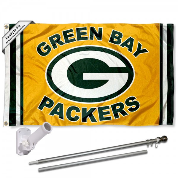 Our Green Bay Packers Gold Flag Pole and Bracket Kit includes the flag as shown and the recommended flagpole and flag bracket. The flag is made of polyester, has quad-stitched flyends, and the NFL Licensed team logos are double sided screen printed. The flagpole and bracket are made of rust proof aluminum and includes all hardware so this kit is ready to install and fly.