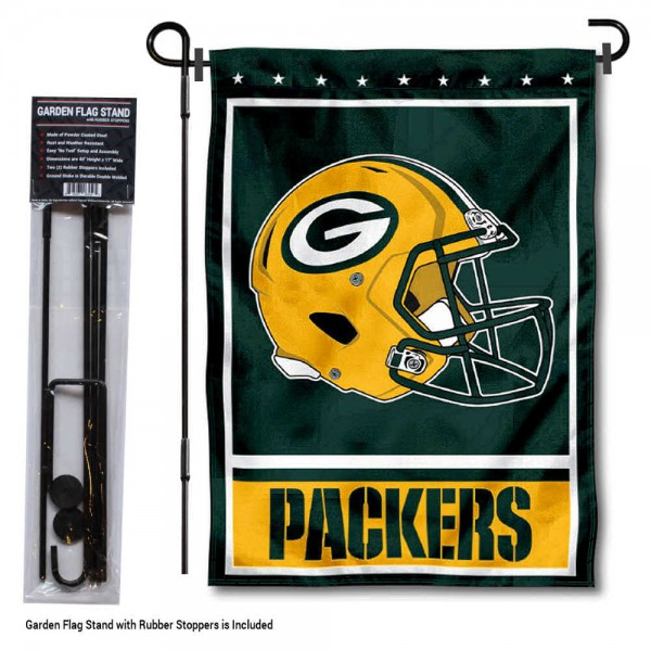 """Green Bay Packers Helmet Garden Banner and Flag Stand kit includes our 13""""x18"""" garden banner which is made of 2 ply poly with liner and has screen printed licensed logos. Also, a 40""""x17"""" inch garden flag stand is included so your Green Bay Packers Helmet Garden Banner and Flag Stand is ready to be displayed with no tools needed for setup. Fast Overnight Shipping is offered and the flag is Officially Licensed and Approved by the selected team."""