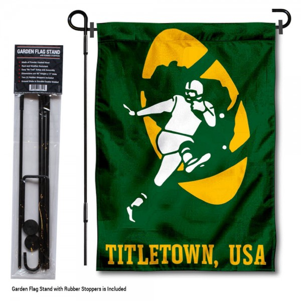 "Green Bay Packers Retro Logo Garden Flag and Stand kit includes our 13""x18"" garden banner which is made of 2 ply poly with liner and has screen printed licensed logos. Also, a 40""x17"" inch garden flag stand is included so your Green Bay Packers Retro Logo Garden Flag and Stand is ready to be displayed with no tools needed for setup. Fast Overnight Shipping is offered and the flag is Officially Licensed and Approved by the selected team."
