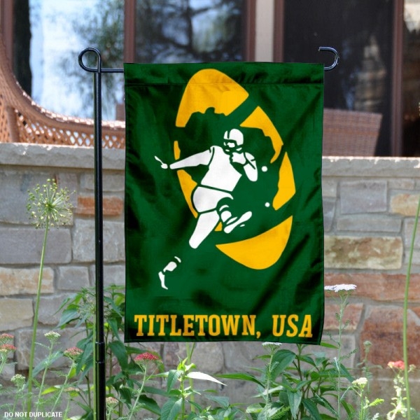 Green Bay Packers Titletown USA Garden Flag is 12.5x18 inches in size, is made of 2-ply polyester, and has two sided screen printed logos and lettering. Available with Express Next Day Ship, our Green Bay Packers Titletown USA Garden Flag is NFL Officially Licensed and is double sided.