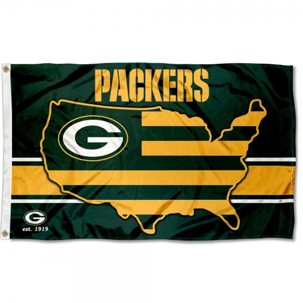 Our Green Bay Packers USA Country Flag is double sided, made of poly, 3'x5', has two metal grommets, indoor or outdoor, and four-stitched fly ends. These Green Bay Packers USA Country Flags are Officially Approved by the Green Bay Packers.