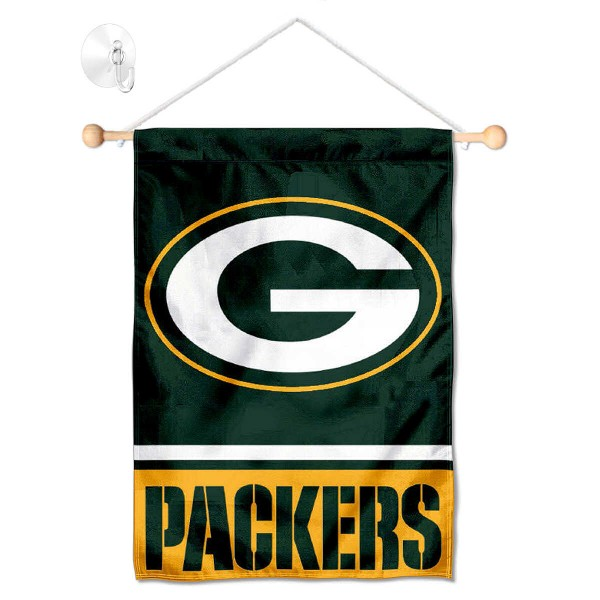"Green Bay Packers Window and Wall Banner kit includes our 12.5""x18"" garden banner which is made of 2 ply poly with liner and has screen printed licensed logos. Also, a 17"" wide banner pole with suction cup is included so your Green Bay Packers Window and Wall Banner is ready to be displayed with no tools needed for setup. Fast Overnight Shipping is offered and the flag is Officially Licensed and Approved by the selected team."