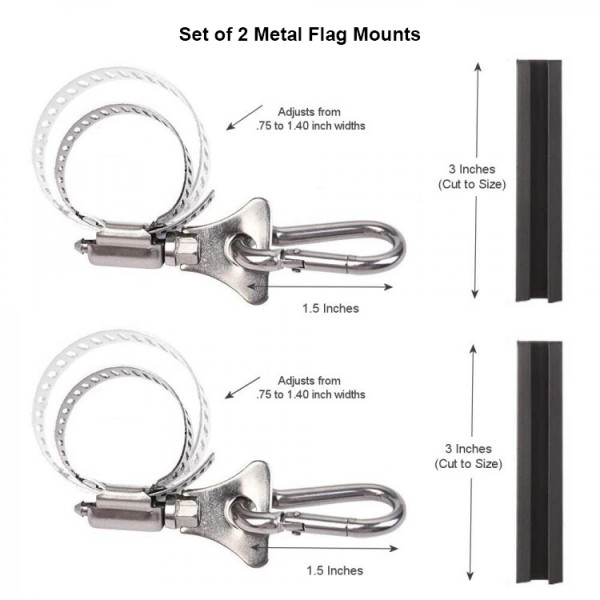 Grommet Flag Clip Mounts Set of 2 are perfect for any of your boat flag light poles, rails, canopy frames, and pontoon frames. These will attach any size flag with grommets and can fit square or round poles. Each mount is Adjustable and made of stainless steel.