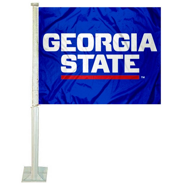GSU Panthers Logo Car Flag measures 12x15 inches, is constructed of sturdy 2 ply polyester, and has screen printed school logos which are readable and viewable correctly on both sides. GSU Panthers Logo Car Flag is officially licensed by the NCAA and selected university.