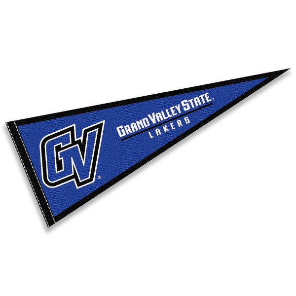 GVSU Lakers Pennant consists of our full size sports pennant which measures 12x30 inches, is constructed of felt, is single sided imprinted, and offers a pennant sleeve for insertion of a pennant stick, if desired. This Grand Valley State University Felt Pennant is officially licensed by the selected university and the NCAA.