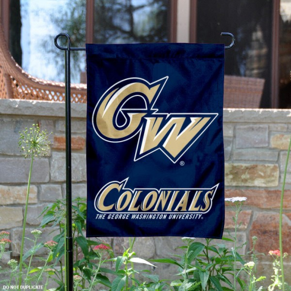 GW Colonials Garden Flag is 13x18 inches in size, is made of 2-layer polyester, screen printed GW Colonials athletic logos and lettering. Available with Same Day Express Shipping, Our GW Colonials Garden Flag is officially licensed and approved by GW Colonials and the NCAA.