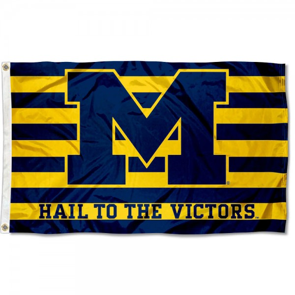 This Hail to the Victors Flag measures 3'x5', is made of 100% nylon, has quad-stitched sewn flyends, and has two-sided Hail to the Victors printed logos. Our Hail to the Victors Flag is officially licensed and all flags for Hail to the Victors are approved by the NCAA and Same Day UPS Express Shipping is available.