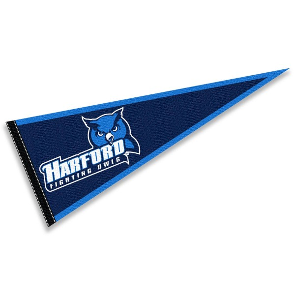 Harford College Fighting Owls Pennant consists of our full size sports pennant which measures 12x30 inches, is constructed of felt, is single sided imprinted, and offers a pennant sleeve for insertion of a pennant stick, if desired. This Harford College Fighting Owls Pennant Decorations is Officially Licensed by the selected university and the NCAA.