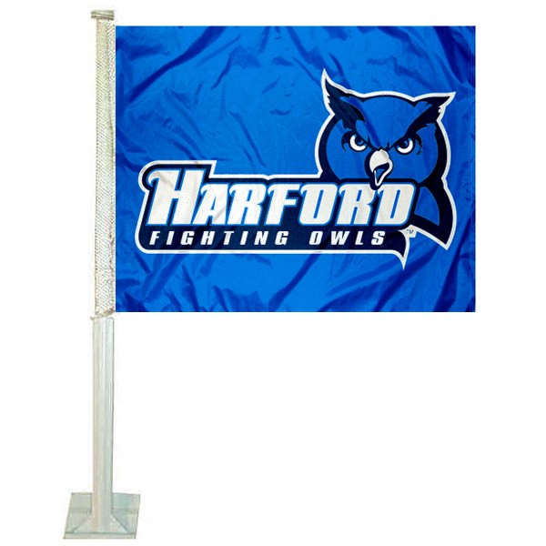 Harford Fighting Owls Logo Car Flag measures 12x15 inches, is constructed of sturdy 2 ply polyester, and has screen printed school logos which are readable and viewable correctly on both sides. Harford Fighting Owls Logo Car Flag is officially licensed by the NCAA and selected university.