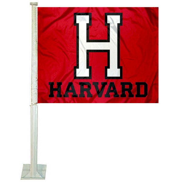 Harvard University Car Flag measures 12x15 inches, is constructed of sturdy 2 ply polyester, and has screen printed school logos which are readable and viewable correctly on both sides. Harvard University Car Flag is officially licensed by the NCAA and selected university.