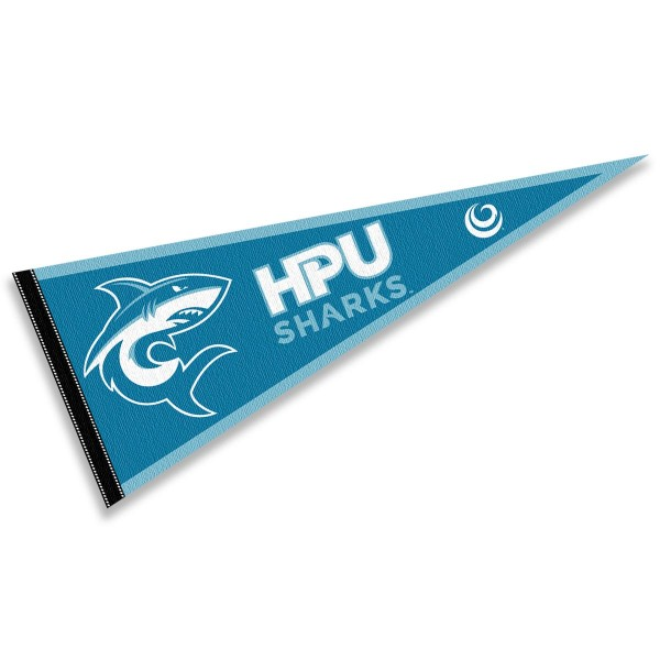 Hawaii Pacific Sharks Pennant consists of our full size sports pennant which measures 12x30 inches, is constructed of felt, is single sided imprinted, and offers a pennant sleeve for insertion of a pennant stick, if desired. This Hawaii Pacific Sharks Pennant Decorations is Officially Licensed by the selected university and the NCAA.