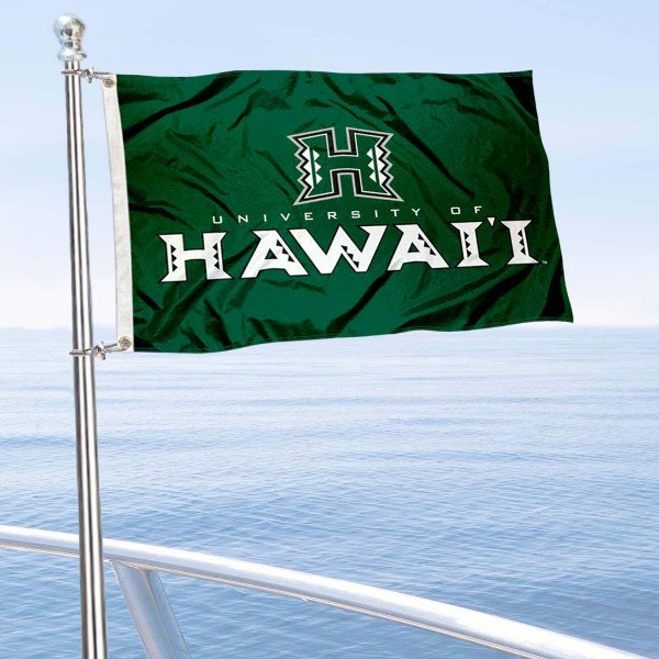Hawaii Warriors Boat and Mini Flag is 12x18 inches, polyester, offers quadruple stitched flyends for durability, has two metal grommets, and is double sided. Our mini flags for University of Hawaii are licensed by the university and NCAA and can be used as a boat flag, motorcycle flag, golf cart flag, or ATV flag.