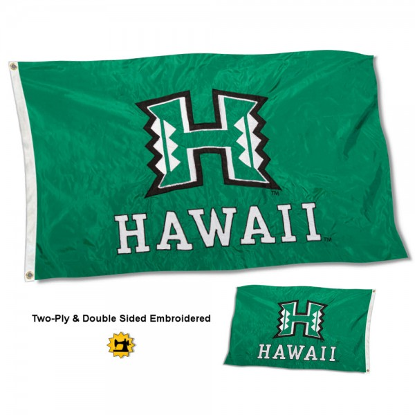 Hawaii Warriors Flag measures 3'x5' in size, is made of 2 layer embroidered 100% nylon, has quadruple stitched fly ends for durability, and is viewable and readable correctly on both sides. Our Hawaii Warriors Flag is officially licensed by the university, school, and the NCAA
