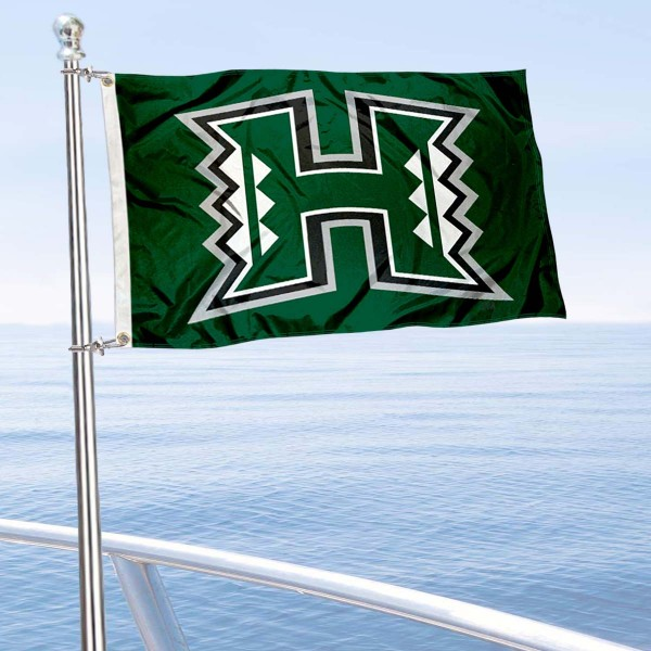 Hawaii Warriors Golf Cart Flag is a small 12x18 inches, made of 2-ply polyester with quad stitched flyends, and is double-sided. Our Golf Cart Logo Flags are Officially Licensed and Approved by University of Hawaii and NCAA.