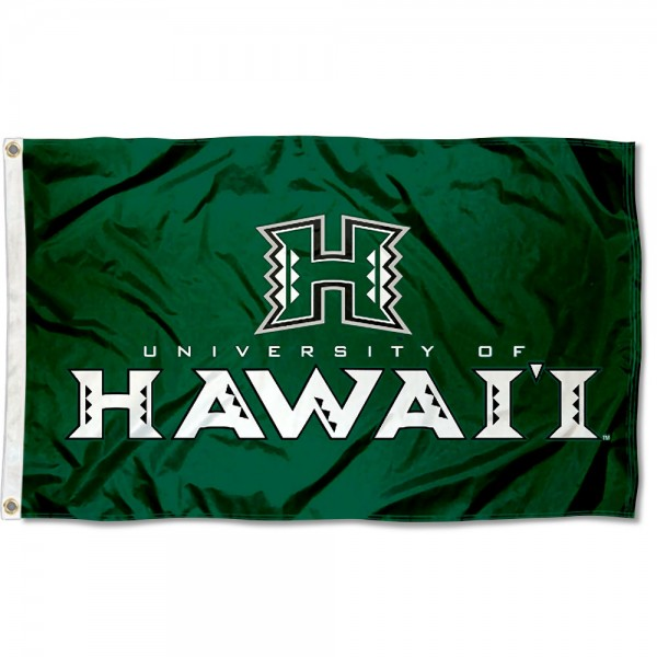 Hawaii Warriors Green Flag measures 3x5 feet, is made of 100% polyester, offers quadruple stitched flyends, has two metal grommets, and offers screen printed NCAA team logos and insignias. Our Hawaii Warriors Green Flag is officially licensed by the selected university and NCAA.