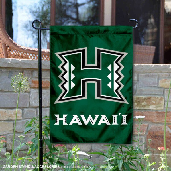 Hawaii Warriors Green Garden Flag is 13x18 inches in size, is made of 2-layer polyester, screen printed university athletic logos and lettering, and is readable and viewable correctly on both sides. Available same day shipping, our Hawaii Warriors Green Garden Flag is officially licensed and approved by the university and the NCAA.