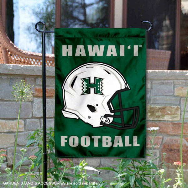Hawaii Warriors Helmet Yard Garden Flag is 13x18 inches in size, is made of 2-layer polyester with Liner, screen printed university athletic logos and lettering, and is readable and viewable correctly on both sides. Available same day shipping, our Hawaii Warriors Helmet Yard Garden Flag is officially licensed and approved by the university and the NCAA.