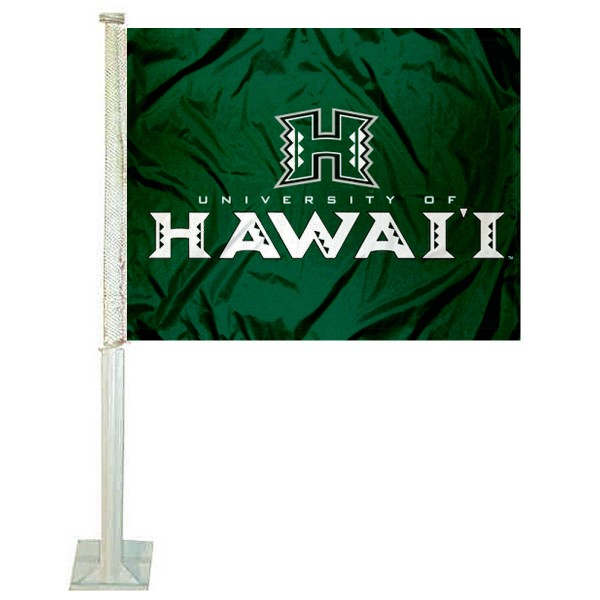 Hawaii Warriors Logo Car Flag measures 12x15 inches, is constructed of sturdy 2 ply polyester, and has screen printed school logos which are readable and viewable correctly on both sides. Hawaii Warriors Logo Car Flag is officially licensed by the NCAA and selected university.