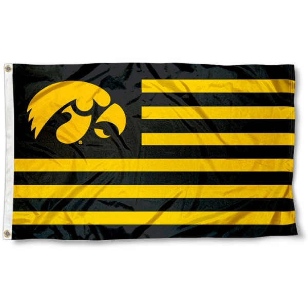 Hawkeye Nation Flag measures 3'x5', is made of polyester, offers quadruple stitched flyends for durability, has two metal grommets, and is viewable from both sides with a reverse image on the opposite side. Our Hawkeye Nation Flag is officially licensed by the selected school university and the NCAA.