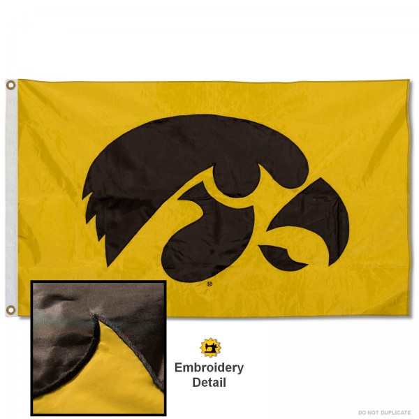 Hawkeyes Gold Nylon Embroidered Flag measures 3'x5', is made of 100% nylon, has quadruple flyends, two metal grommets, and has double sided appliqued and embroidered University logos. These Hawkeyes Gold 3x5 Flags are officially licensed by the selected university and the NCAA.