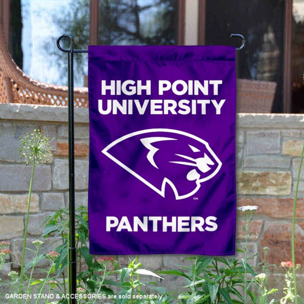 High Point Panthers Double Sided Garden Flag is 13x18 inches in size, is made of 2-layer polyester, screen printed university athletic logos and lettering, and is readable and viewable correctly on both sides. Available with same day shipping, our High Point Panthers Double Sided Garden Flag is officially licensed and team approved by the university and the NCAA.