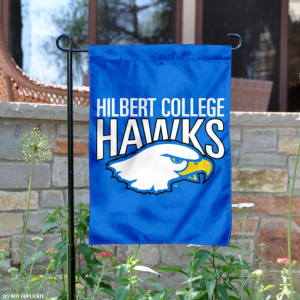 Hilbert College Garden Flag is 13x18 inches in size, is made of 2-layer polyester, screen printed university athletic logos and lettering, and is readable and viewable correctly on both sides. Available same day shipping, our Hilbert College Garden Flag is officially licensed and approved by the university and the NCAA.