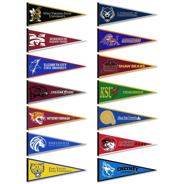 Historically Black Colleges and Universities Pennants consists of fourteen randomly selected HBCU pennants and measure 12x30 inches. All HBCU pennants are are approved by the selected HBCU college or university.