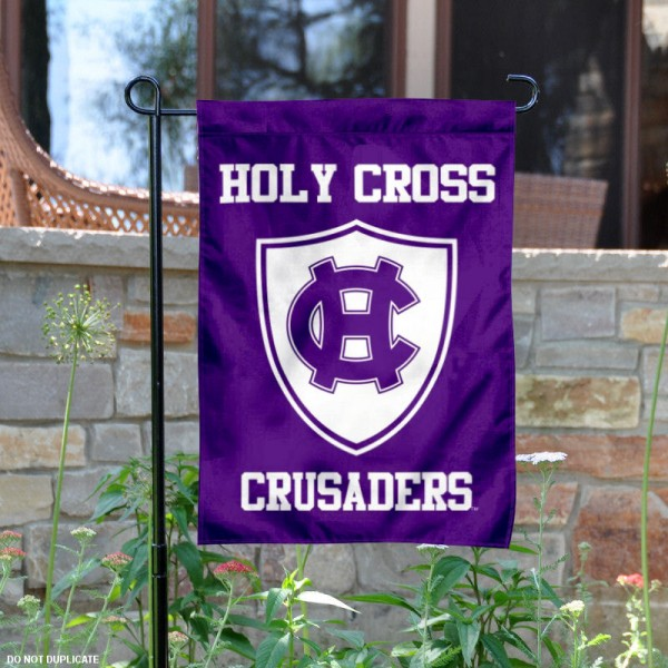 Holy Cross Crusaders Garden Flag is 13x18 inches in size, is made of 2-layer polyester, screen printed university athletic logos and lettering. Available with Same Day Express Shipping, our Holy Cross Crusaders Garden Flag is officially licensed and approved by the university and the NCAA.