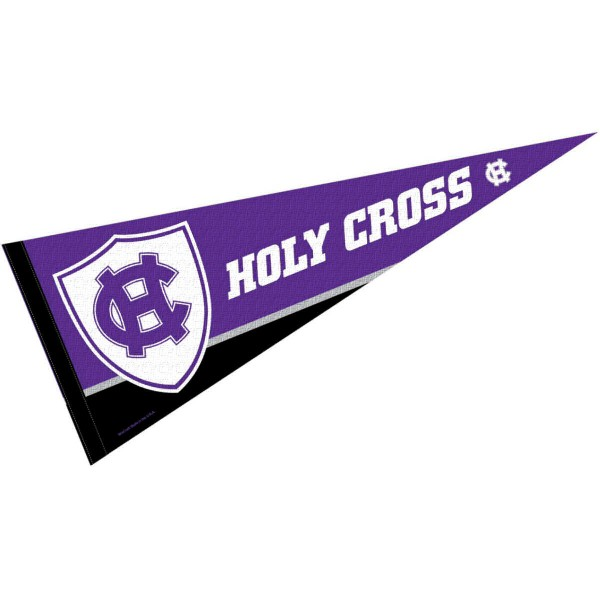 Holy Cross Pennant consists of our full size sports pennant which measures 12x30 inches, is constructed of felt, is single sided imprinted, and offers a pennant sleeve for insertion of a pennant stick, if desired. This Holy Cross Felt Pennant is officially licensed by the selected university and the NCAA.