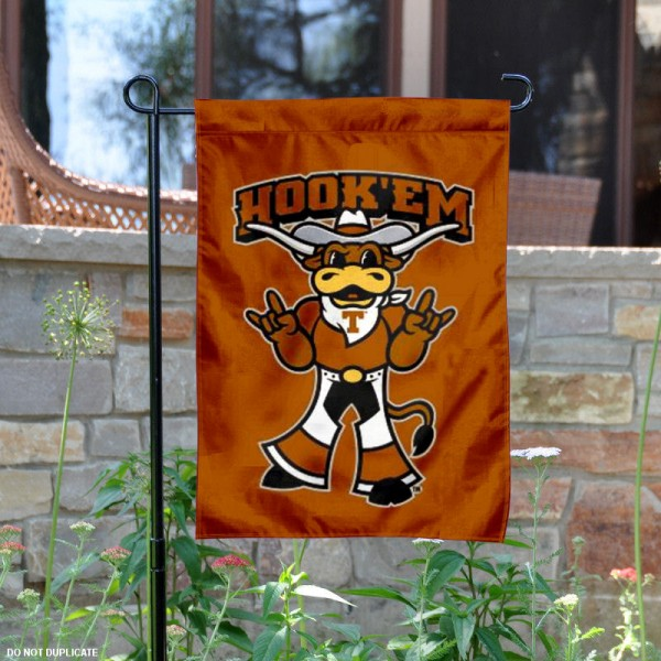 Hook Em Horns Texas Garden Flag is 13x18 inches in size, is made of 2-layer polyester, screen printed University of Texas athletic logos and lettering. Available with Same Day Express Shipping, Our Hook Em Horns Texas Garden Flag is officially licensed and approved by University of Texas and the NCAA.