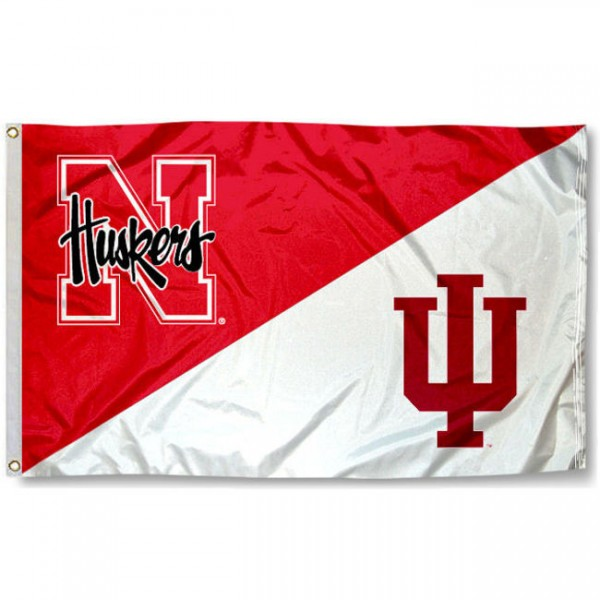 Hoosiers vs. Huskers House Divided 3x5 Flag sizes at 3x5 feet, is made of 100% polyester, has quadruple-stitched fly ends, and the university logos are screen printed into the Hoosiers vs. Huskers House Divided 3x5 Flag. The Hoosiers vs. Huskers House Divided 3x5 Flag is approved by the NCAA and the selected universities.