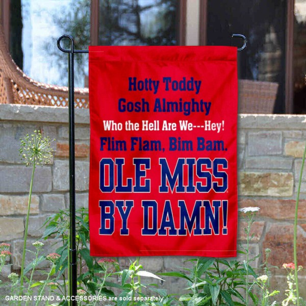 Hotty Toddy Garden Flag is 13x18 inches in size, is made of 2-layer polyester, screen printed Ole Miss Hotty Toddy athletic logos and lettering. Available with Same Day Express Shipping, Our Hotty Toddy Garden Flag is officially licensed and approved by Ole Miss Hotty Toddy and the NCAA.