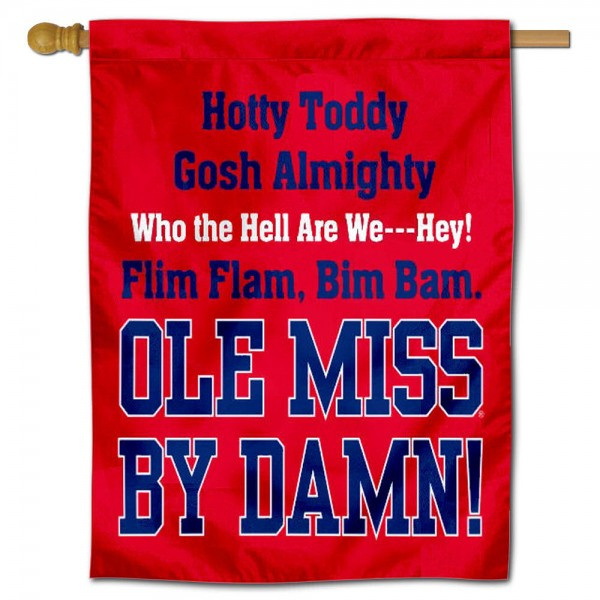 Hotty Toddy Ole Miss House Banner is a vertical house flag which measures 30x40 inches, is made of 2 ply 100% polyester, offers screen printed NCAA team insignias, and has a top pole sleeve to hang vertically. Our Hotty Toddy Ole Miss House Banner is officially licensed by the selected university and the NCAA.