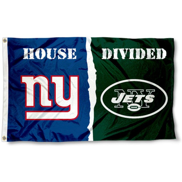 House Divided Flag - Giants vs. Jets sizes at 3x5 feet, is made of 100% polyester, has quadruple-stitched fly ends, and the Football Team logos are screen printed into the House Divided Flag - Giants vs. Jets. The House Divided Flag - Giants vs. Jets is approved by NFL and the selected NFL Teams.