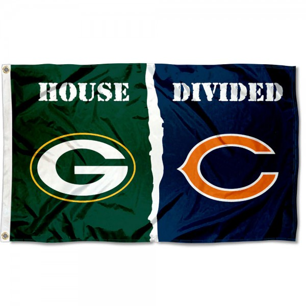House Divided Flag - Packers vs. Chicago Bears sizes at 3x5 feet, is made of 100% polyester, has quadruple-stitched fly ends, and the Football Team logos are screen printed into the House Divided Flag - Packers vs. Chicago Bears. The House Divided Flag - Packers vs. Chicago Bears is approved by NFL and the selected NFL Teams.
