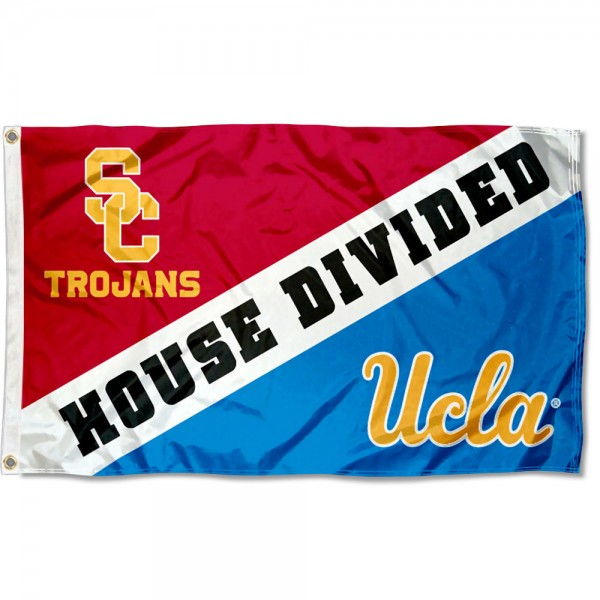 House Divided Flag - UCLA vs. USC sizes at 3x5 feet, is made of 100% nylon, has quadruple-stitched fly ends, and the Team logos are screen printed into the House Divided Flag - UCLA vs. USC. The House Divided Flag - UCLA vs. USC is approved by NCAA and the selected NCAA Teams.