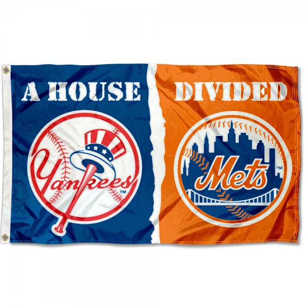 House Divided Flag - Yankees vs. Mets sizes at 3x5 feet, is made of 100% polyester, has four-stitched fly ends, and the MLB Club logos are screen printed into the House Divided Flag - Yankees vs. Mets. The House Divided Flag - Yankees vs. Mets is approved by the Major League Baseball and the specific teams.