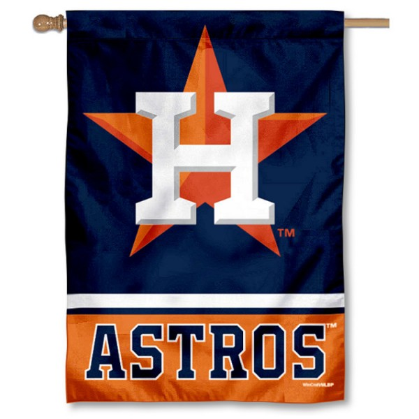 Houston Astros Double Sided House Flag is screen printed with Houston Astros logos, is made of 2-ply 100% polyester, and is two sided and double sided. Our banners measure 28x40 inches and hang vertically with a top pole sleeve to insert your banner pole or flagpole.