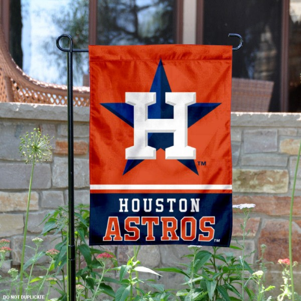 Houston Astros Garden Flag is 12.5x18 inches in size, is made of 2-ply polyester, and has two sided screen printed logos and lettering. Available with Express Next Day Shipping, our Houston Astros Garden Flag is MLB Genuine Merchandise and is double sided.