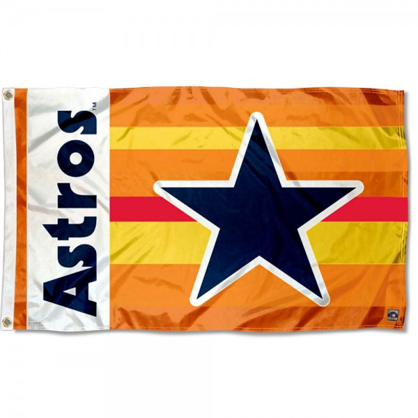 Our Houston Astros Retro Vintage Grommet Flag is double sided, made of poly, 3'x5', has two grommets, and four-stitched fly ends. These Houston Astros Retro Vintage Grommet Flags are Officially Licensed by the MLB.