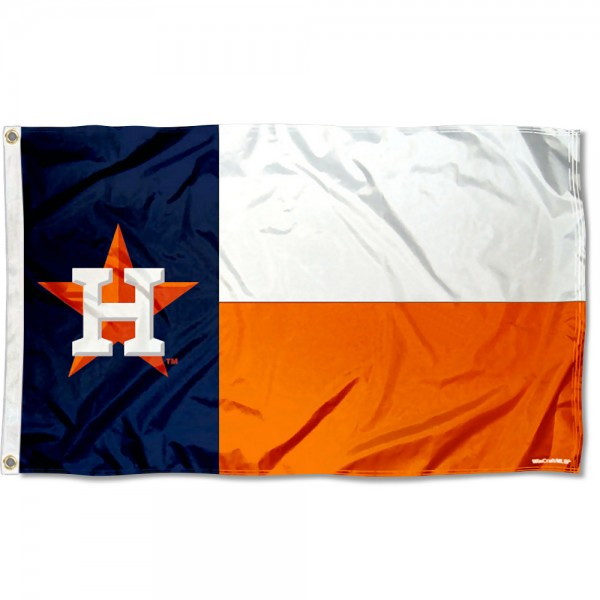 Our Houston Astros State of Texas Logo Flag is double sided, made of poly, 3'x5', has two grommets, and four-stitched fly ends. These Houston Astros State of Texas Logo Flags are Officially Licensed by the MLB.